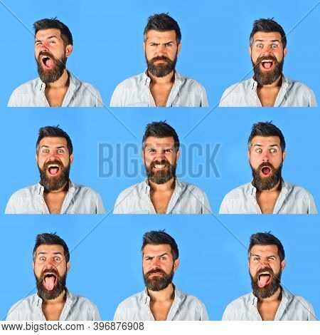 Set Of Human Emotions. Different Emotions. Collage Of Different Emotions. Emoticon Set. Emotion Set