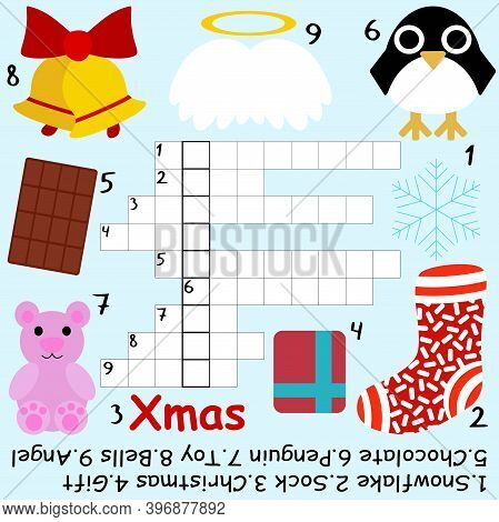Simple Winter Colorful Crossword For Kids Stock Vector Illustration. Cartoon Educational Word Game W