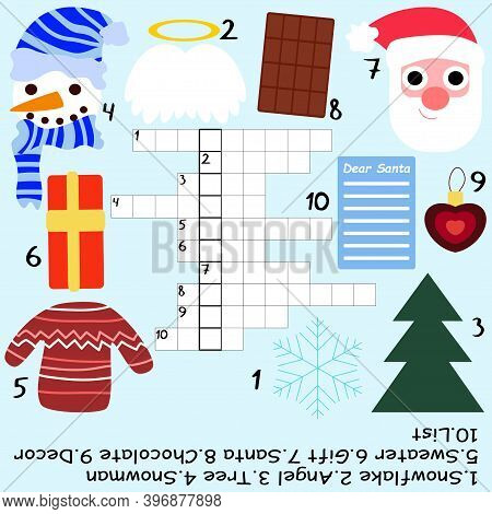 Christmas Children Crossword Stock Vector Illustration. Funny Educational Printable Word Game For Ki