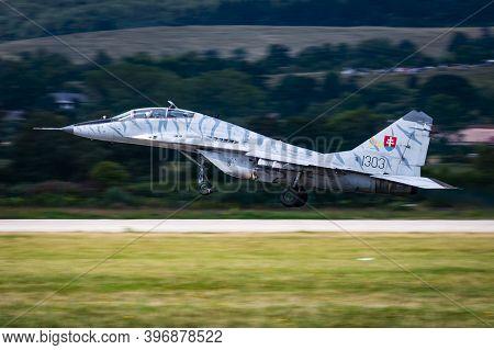 Sliac / Slovakia - August 3, 2019: Slovak Air Force Mikoyan-gurevich Mig-29ubs Fulcrum 1303 Fighter
