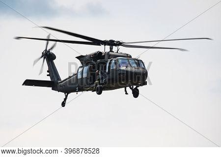 Sliac / Slovakia - August 3, 2019: Slovak Air Force Sikorsky Uh-60m Black Hawk 7641 Transport Helico