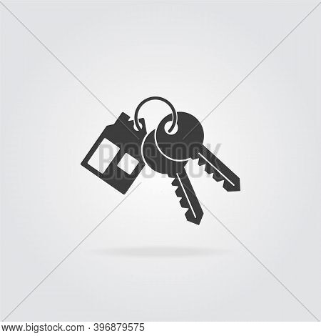 House Key Chain With Two Keys. Mortgage Or Rent House Concept Icon. Silhouette, Of Bunch Keys.