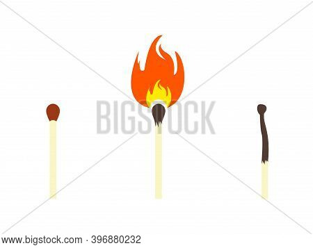 Safety Match, Lighted Match And Burnt Match Icons. Burnout Syndrome. Working Burnout Conception.