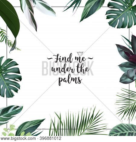 Emerald Green Monstera, Calathea, Palm Tropical Leaves Template Square Card. Emerald Exotic Greenery
