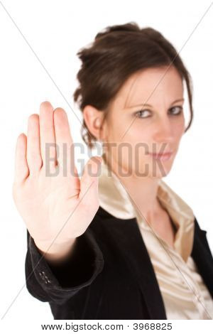 Caucasian Young Female Motioning To Stop