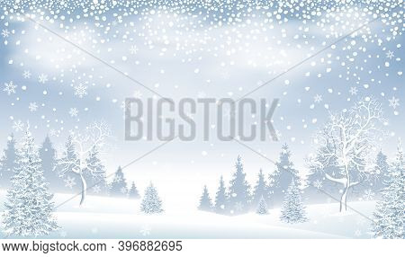Winter Landscape. Snow-covered Forest, Spruce And Snow-covered Trees. Snowfall. Snow, Snowflakes. Wi