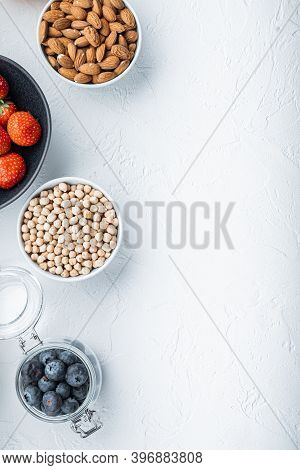 Organic Food For Healthy Nutrition And Superfoods, Flat Lay With Space For Text, On White Background