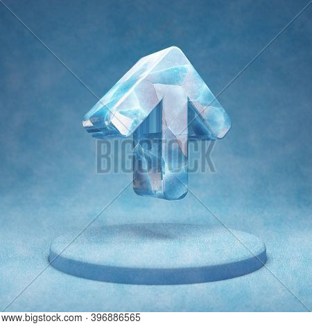 Arrow Up Icon. Cracked Blue Ice Arrow Up Symbol On Blue Snow Podium. Social Media Icon For Website,