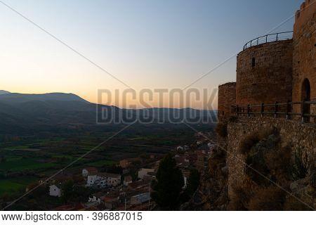 Exterior Wall Overlooking The Medieval Castle Village Of Mesones De Isuela In Aragon, Spain