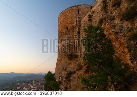 Exterior Wall With A Tree Of The Medieval Castle Of Mesones De Isuela In Aragon, Spain