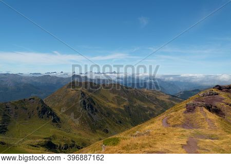 Arrival Path To The Top Of Ayous Peak With Views Of The Peaks And Mountains Of The Pyrenees With Som