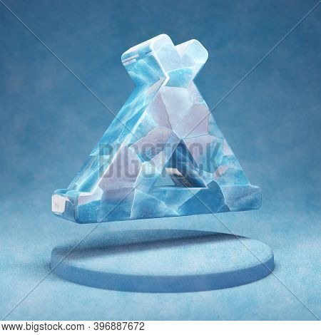 Campground Icon. Cracked Blue Ice Campground Symbol On Blue Snow Podium. Social Media Icon For Websi