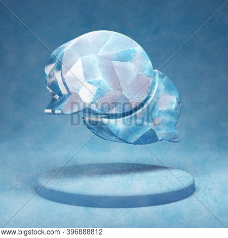 Comments Icon. Cracked Blue Ice Comments Symbol On Blue Snow Podium. Social Media Icon For Website,