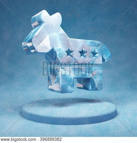 Democrat Icon. Cracked Blue Ice Democrat Symbol On Blue Snow Podium. Social Media Icon For Website,