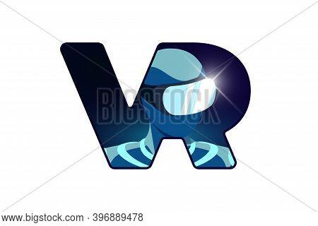 Vr Logo Design Concept. Person Wearing Virtual Or Augmented Reality Glasses Helmet Inside V R Letter