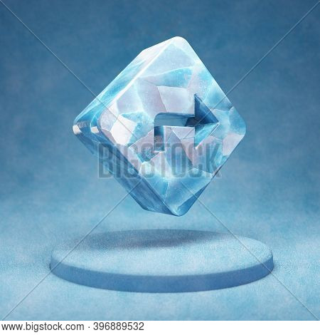 Directions Icon. Cracked Blue Ice Directions Symbol On Blue Snow Podium. Social Media Icon For Websi