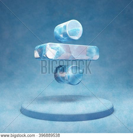 Divide Icon. Cracked Blue Ice Divide Symbol On Blue Snow Podium. Social Media Icon For Website, Pres