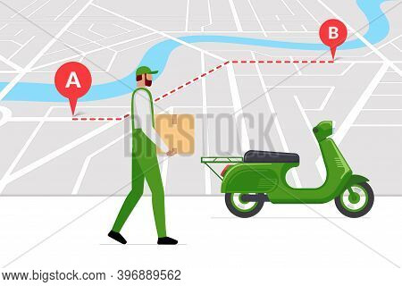 Delivery Courier Brought Cargo Goods Package Box On Moped Following Navigation Route On City Map Wit