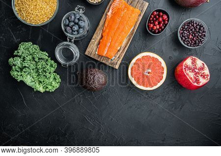 Organic Food For Healthy Nutrition And Superfoods, Flat Lay With Space For Text, On Black Background