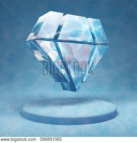 Gem Icon. Cracked Blue Ice Gem Symbol On Blue Snow Podium. Social Media Icon For Website, Presentati