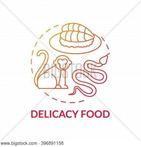 Delicacy Food Red Gradient Concept Icon. Exotic Animal Abuse. Unethical Eating. Extinction Danger. W