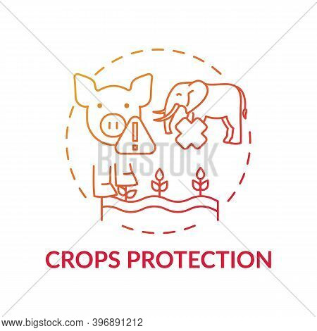 Crops Protection Red Gradient Concept Icon. Harm Wildlife From Toxic Pesticide. Danger To Pig, Eleph