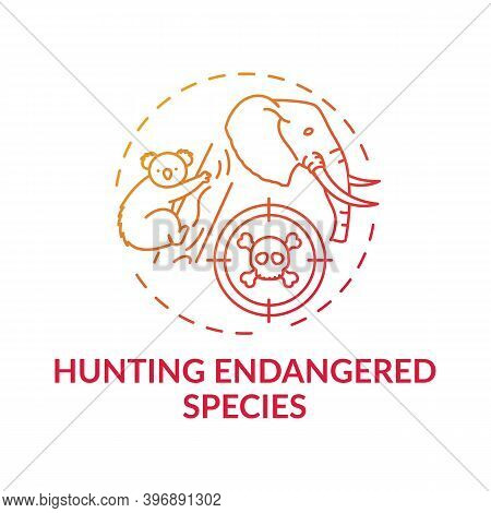 Hunting Endangered Species Red Gradient Concept Icon. Biodiversity Loss. African Animal Abuse. Austr