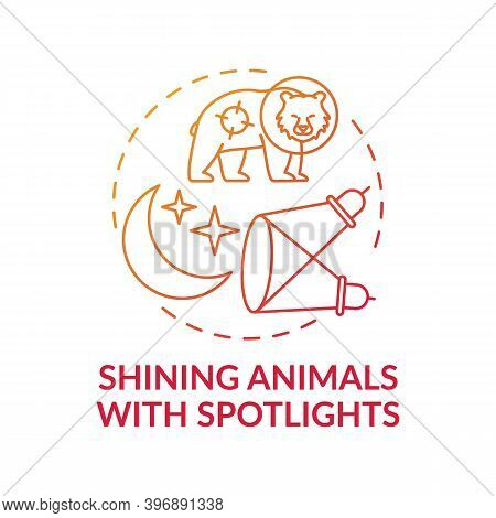 Shining Animals With Spotlights Red Gradient Concept Icon. Harm Wildlife. Animal Welfare. Nature Con