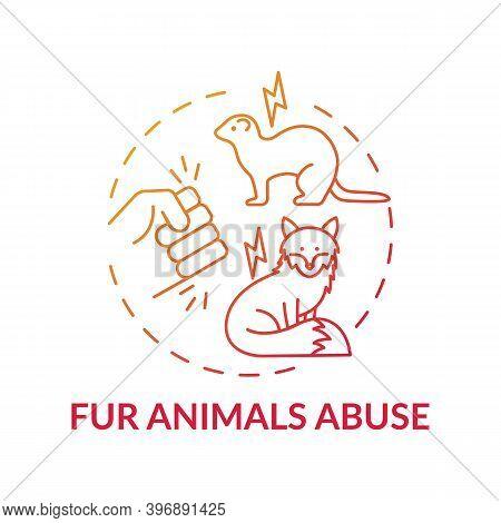 Fur Animals Abuse Red Gradient Concept Icon. Harm To Fox. Mink Coat. Animal Abuse. Wildlife Conserva