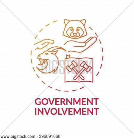 Government Involvement Red Gradient Concept Icon. Animal Welfare. Legal Act. Animal Abuse And Wildli
