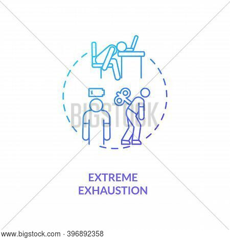 Extreme Exhaustion Concept Icon. Severe Fatigue Idea Thin Line Illustration. Cfs Symptom. Psychologi
