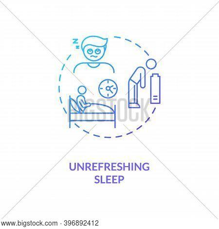 Unrefreshing Sleep Concept Icon. Cfs Symptom Idea Thin Line Illustration. Slowed Reflexes And Respon