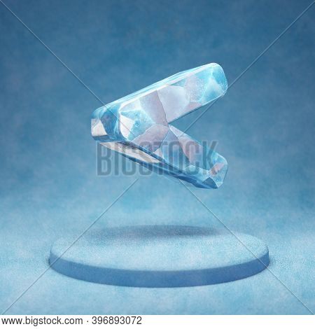 Less Than Icon. Cracked Blue Ice Less Than Symbol On Blue Snow Podium. Social Media Icon For Website