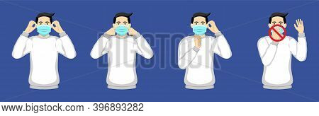 Wear And Remove Surgical Mask. Step By Step Infographic Illustration Of How To Wear And Remove A Sur
