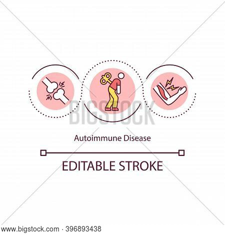 Autoimmune Disease Concept Icon. Immune System Mistakenly Attacks Your Body. Strong Health Issues Id