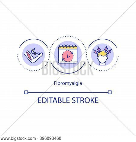 Fibromyalgia Concept Icon. Medical Condition Characterized By Chronic Widespread Pain. Health Issues