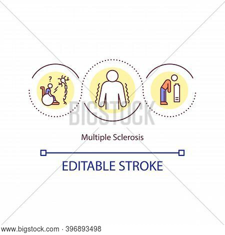 Multiple Sclerosis Concept Icon. Disease In Which Insulating Covers Of Nerve Cells Are Damaged. Heal