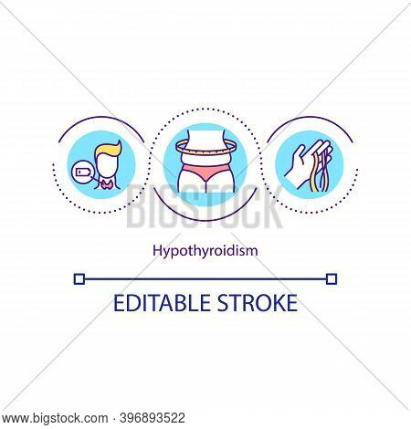 Hypothyroidism Concept Icon. Disorder Of Endocrine System In Which Gland Does Not Produce Hormone. H