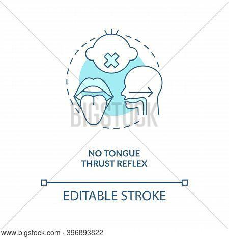No Tongue Thrust Reflex Concept Icon. Introducing Baby Food Requirements. Giving Food From The Breas
