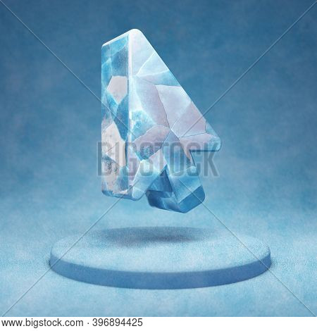 Mouse Pointer Icon. Cracked Blue Ice Mouse Pointer Symbol On Blue Snow Podium. Social Media Icon For