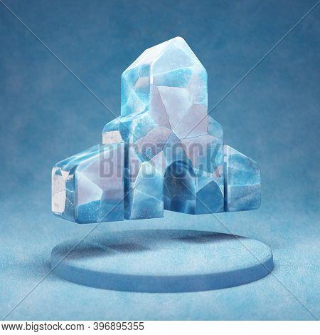 Place Of Worship Icon. Cracked Blue Ice Place Of Worship Symbol On Blue Snow Podium. Social Media Ic