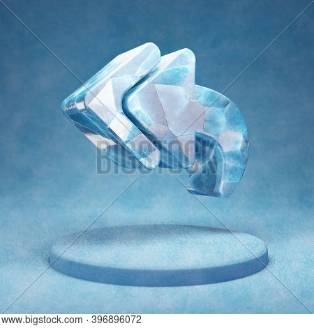 Reply All Icon. Cracked Blue Ice Reply All Symbol On Blue Snow Podium. Social Media Icon For Website
