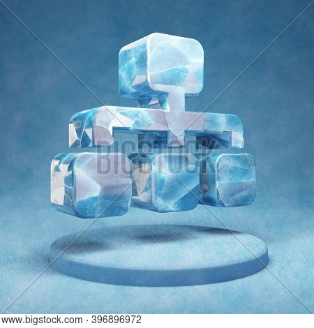 Sitemap Icon. Cracked Blue Ice Sitemap Symbol On Blue Snow Podium. Social Media Icon For Website, Pr