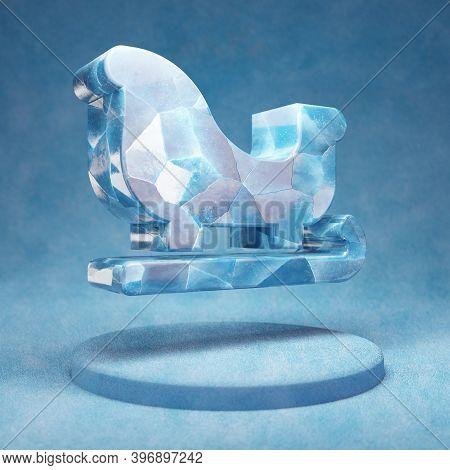 Sleigh Icon. Cracked Blue Ice Sleigh Symbol On Blue Snow Podium. Social Media Icon For Website, Pres