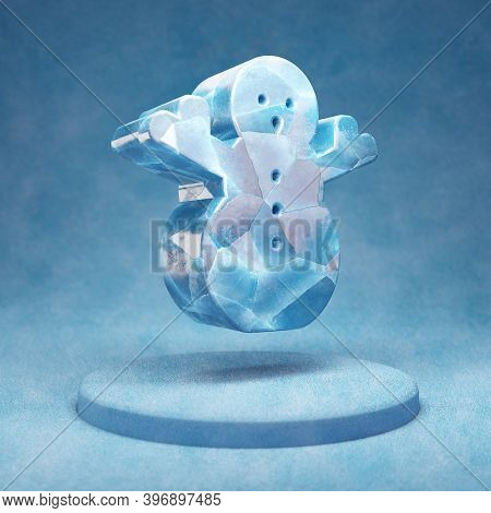 Snowman Icon. Cracked Blue Ice Snowman Symbol On Blue Snow Podium. Social Media Icon For Website, Pr