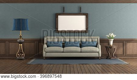 Classic Style Living Room With Elegant Sofa And Wooden Boiserie - 3d Rendering