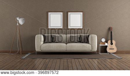 Minimalist Living Room With Brown Wall ,modern Sofa Floor Lamp And Guitar On Hardwood Floor - 3d Ren