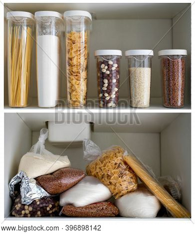 Kitchen Cabinet Collage Before And After Organization. Stocked Kitchen Pantry With Food - Pasta, Buc