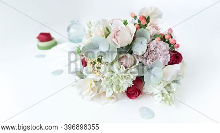 An Elegant Bouquet Of Artificial Flowers Made Of Foamiran On A Pale Blue Pastel Background With Copy