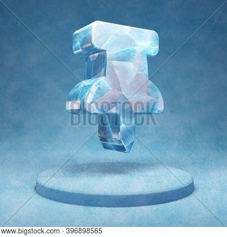Thumbtack Icon. Cracked Blue Ice Thumbtack Symbol On Blue Snow Podium. Social Media Icon For Website